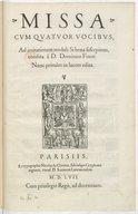 Missa cum quatuor vocibus, ad imitationem moduli Si bona suscepimus , condita à D. Dominico Finot : nunc primùm in lucem edita