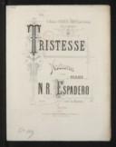 Tristesse, nocturne pour le piano. Op. 53 / N. R. Espadero