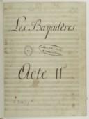 Les bayadères (manuscrit autographe)