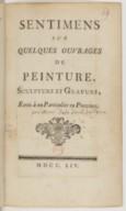 Sentimens sur quelques ouvrages de Peinture, Sculpture et Gravure , Écrits à un Particulier en Province.
