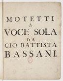 Resi armonici in motetti a voce sola con violini... Opera ottava