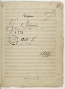 Virginie // où // Les Décemvirs // Tragédie Lyrique // En 3 actes // de // Mr Désaugiers l'aîné // Mise en Musique // Par // h: M: Berton de l'Institut (manuscrit autographe)