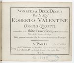 Sonates à deux dessus... opera quinta, accomodées à la flûte traversière par M. Hotteterre,... et se peuvent exécuter sur les autres instrumens de dessus