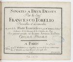 Sonates a deux dessus..., recueillies et accomodées au gout de la flute traversière par M. Hotteterre, le Rom.n, et se peuvent exécuter sur les autres instruments de dessus. Opera prima. Gravé par L. Hue