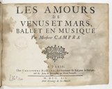 Les amours // de // Vénus et Mars, // Ballet en musique // Par Monsieur Campra