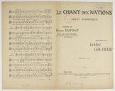 """Le chant des nations : chant patriotique / poésie de Pierre Dupont, exrait de la """"Muse populaire"""" ; musique de Louise Galtieur"""