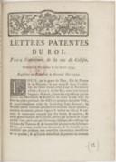 Image from object titled Lettres patentes... pour l'ouverture de la rue du Colisée... Registrées en Parlement le 19 mai [1779]...