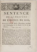 Image from object titled Sentence de la prevôté de l'Hôtel,... concernant les droits honorifiques attribués aux commensaux de la Maison du roi et des princes