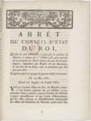 Image from object titled Arrêt du conseil d'Etat qui fixe les trois abonnements à payer par la province de Navarre, à compter du 1er octobre 1781, pour tenir lieu des droits réservés, de ceux des courtiers-jaugeurs, inspecteurs aux boissons et aux boucheries, et du droit sur les cuirs