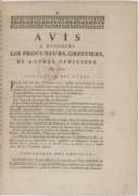 Image from object titled Avis à MM. Les procureurs, greffiers et autres officiers [sur la procédure]