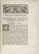 Image from object titled Déclaration... portant suppression des 12 offices de syndics de la communauté des notaires au Chastelet de Paris créez par édit... de mars... [1706. Enregistrée au Parlement le 7 juin 1706.]