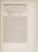 Image from object titled Déclaration... qui unit les charges de notaires royaux syndics, créez par édit... de mars 1706, aux communautez des notaires... [Enregistrée au Parlement le 15 juin 1708.]