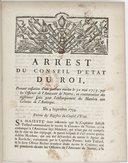 Image from object titled Arrest du conseil d'état du roy, portant cassation d'une sentence rendue le 30 mai 1753, par les officiers de l'amirauté de Nantes, en Contravention des règlements faits pour l'embarquement des matelots aux colonies d'Amérique . Du 4 septembre 1753