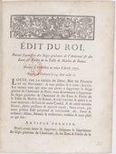 Édit... portant suppression des sièges généraux de l'Amirauté et des Eaux et forêts de la Table de Marbre de Rouen... Registré en Parlement le 29 avril [1772]...