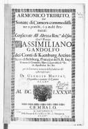 Armonico tributo cioè Sonate di camera commodissime a pocchi, ò a molti stromenti... da Georgio Muffat,...