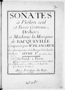 Sonates à violon seul et basse continue..., composées par M. Francoeur le cadet,... Livre Ier