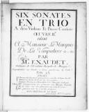 Six sonates en trio a deux violons et basse continue. Oeuvre IIe... On peut jouer ces sonates à deux pardessus de viole