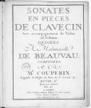 [VI] Sonates en pièces de clavecin avec accompagnement de violon ad libitum... Oeuvre IIe. Gravé par Labassée