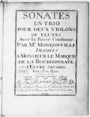 Sonates en trio pour deux violons ou flutes avec la basse-continue... Oeuvre second.... Gravées par L. Hue