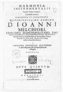 Harmonia instrumentalis duobus violin. et fagotto cum basso continuo elaborata et concinnata... à Philippo-Friderico Buchnero... opus quintum