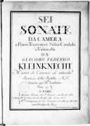 Sei Sonates da camera a flauto traversière solo e cembalo o violoncello.... Gravées par Melle Vendôme