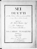 Sei Duetti a due violini o due pardessus de viole cenza basso, libro secondo... opera XV..., gravés par Mlle Vendôme