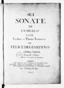 Sei Sonate di cembalo con violino o flauto traverso... opera terza. Nouvelle édition, revue et corrigée de 554 fautes