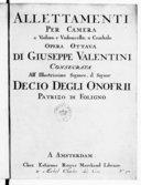 Alletamenti per camera a violino, e violoncelllo o cembalo, opera ottava...