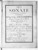Sei Sonate a violino e basso... opera I.. Gravé par Mlle Vandôme