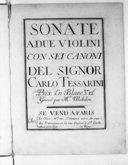 Sonate a due violini con sei canoni..., gravé par Mlle Michelon. [Ier livre]