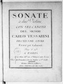 Sonate a due violini con sei canoni... Deuxiesme livre..., gravé par Labassée...