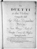 Sei Duetti a due violini... opera seconda. Gravées par Mlle Vandôme