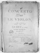 Concerto pour le violon... oeuvre posthume... [en ré]