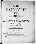 VIII sonate per cembalo... opera prima