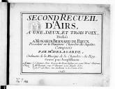 Second Recueil d'airs à une, deux et trois voix..., gravé par J. Renou