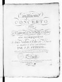 Cinquième concerto pour le clavecin ou le forte-piano avec accompagnement de deux violons, alto et basse, les hautbois et cors (ad libitum)...