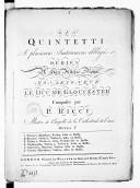 Six Quintetti a plusieurs instrumens obligés... opera V