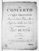 [6e] Concerto a cors principal, premier et second violon, alto et basse, deux haubois, deux cors.... Gravé par Richomme, [en mi b]