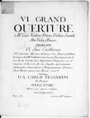 VI Grand ouverture à IV, cioè violino primo, violino secondo, alto viola e basso... opera XVIII. Gravé par Mlle Vendôme