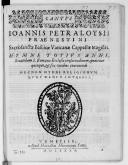 IOANNIS PETRALOYSII // PRAENESTINI // Sacrosanctae Basilicae Vaticanae Cappellae Magistri. // HYMNI TOTIVS ANNI, // Secundum S. Romanae Ecclesiae consuetudinem, quattuor // quinque, et sex vocibus concinendi // NECNON...