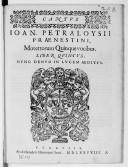 IOAN. PETRALOYSII // PRAENESTINI, // Motettorum Quinque vocibus. // LIBER QVINTVS. // NVNC DENVO IN LVCEM AEDITVS. // [Vignette] // VENETIIS // Apud Haeredem Hieronymi Scoti. MDLXXVIII //