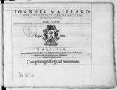 IOANNIS MAILLARD // MUSICI EXCELLENTISSIMI MOTETA // quatuor, quinque, et sex vocum. // LIBER PRIMVS. [Marque de Le Roy et Ballard] PARISIIS, // Apud Adrianum le Roy, et Robertum Ballard, Regis Typographos, in vico sancti...
