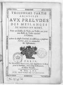 Troisiesme partie adjoustée aux Preludes des Meslanges de Henry Du Mont. Pour un Dessus de viole, ou Taille, ou pour une Basse de viole touchée à l'octave. Avec la basse-continuë des motets à plusieurs parties, pour la...