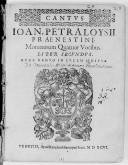 IOAN. PETRALOYSII // PRAENESTINI, Motettorum Quatuor Vocibus. // LIBER SECVNDVS. // NVNC DENVO IN LVCEM AEDITVS. // [Vignette] // VENETIIS, Apud Haeredem Hieronymi Scoti. MDXCVI. //