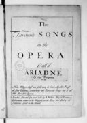 The favourite Songs in the opera call'd Ariadre, by Sig.r Porpora. N° II...