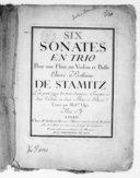 Six Sonates en trio pour une flûte, un violon et basse. Oeuvre posthume de Stamitz.... Gravé par Mme Oger