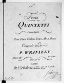 Trois Quintetti concertants pour deux violons, deux altos et basse... Oeuvre 14e. 2e livre...