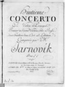Huitième Concerto à violon principal, premier et second violons, alto et basse, deux hautbois, deux cors ad libitum...