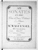 Six Sonates en trio pour deux violons et basse... oeuvre premier.... Gravées par Mme Pradat