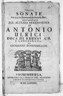 Sonate à 2. 3. 4. è 5. Stromenti da arco e altri ; ... da Giovanni Rosenmüller
